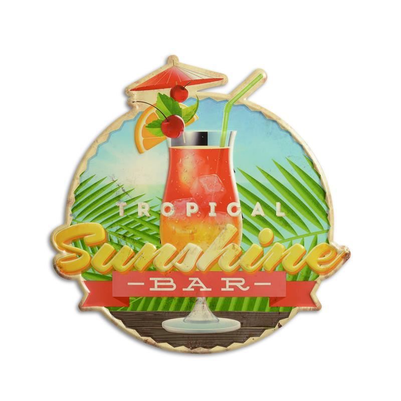 "Blechschild /""Sunshine Bar/"" Tropical Cocktail Mojito PinaColada Diner 40x40cm Neu"