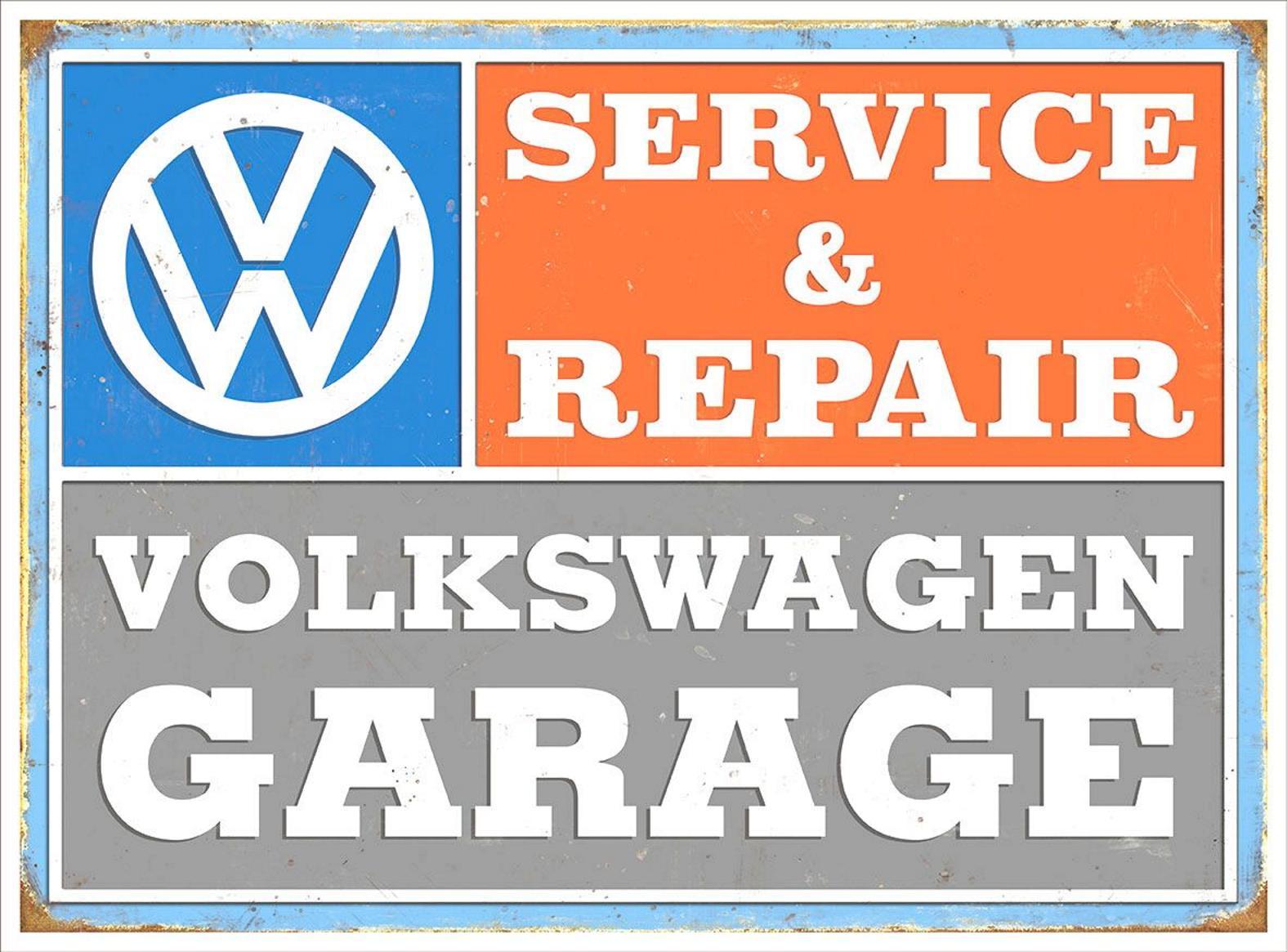 Blechschild garage vw volkswagen werkstatt service for Garage volkswagen le landreau